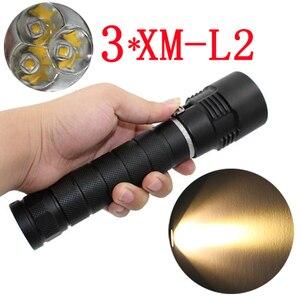 Тактический 3x XM-L2 светодиодный фонарик 3200Lm Мощный водонепроницаемый подводный светодиодный фонарик для дайвинга фонарь желтый свет
