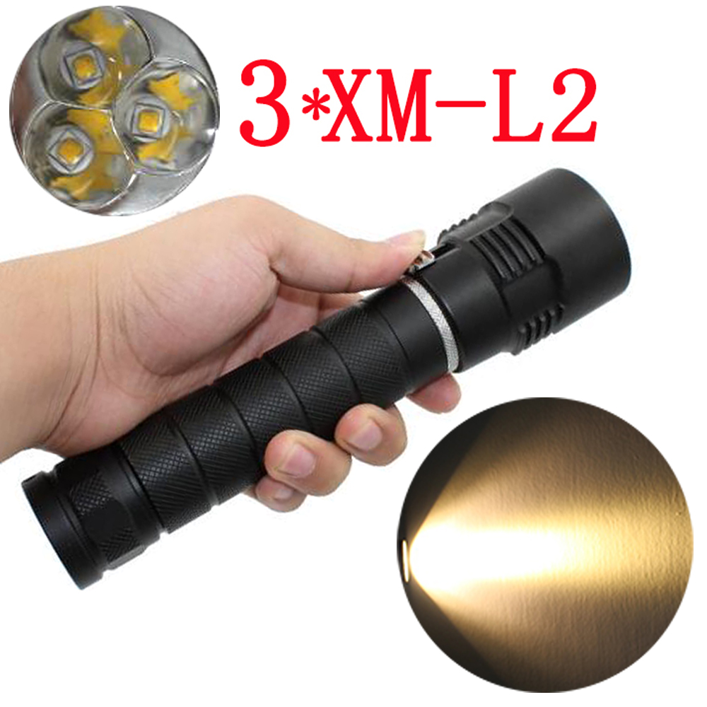 Tactical 3x XM-L2 LED Flashlight 3200Lm Powerful Waterproof Underwater Dive LED Diving Flashlight Torch Lamp Yellow Light