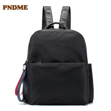Leather shoulder strap Oxford cloth backbag casual student bag pure color female backpack