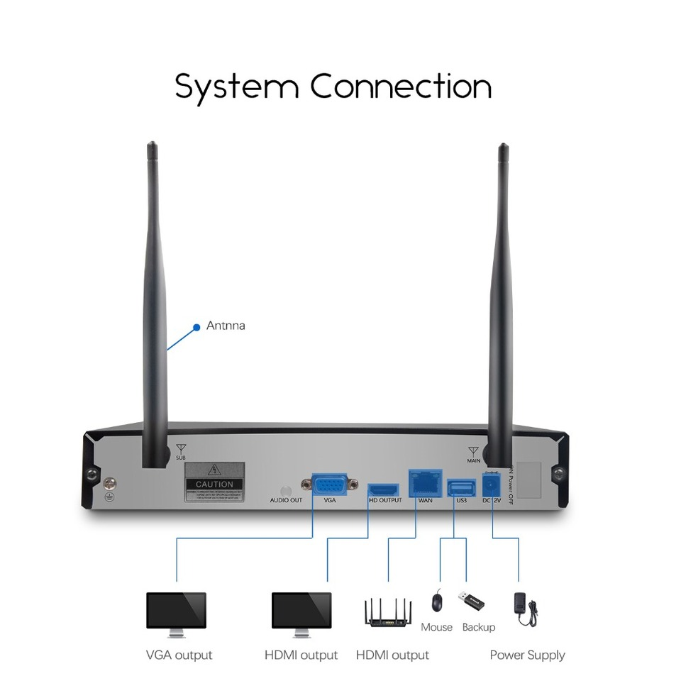 Eyes.sys 4//6//8pcs Audio CCTV Wireless WiFi Full 2MP Camera HDD 1080P NVR System
