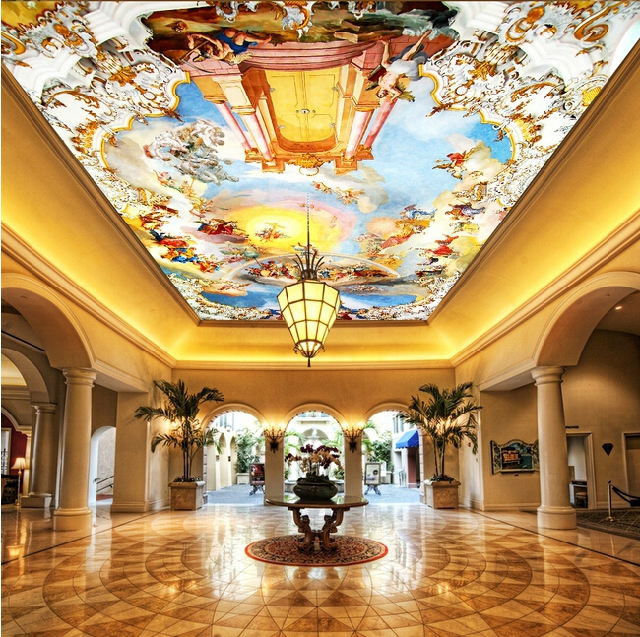 European seamless large murals condole top hall ceiling for Ceiling mural wallpaper