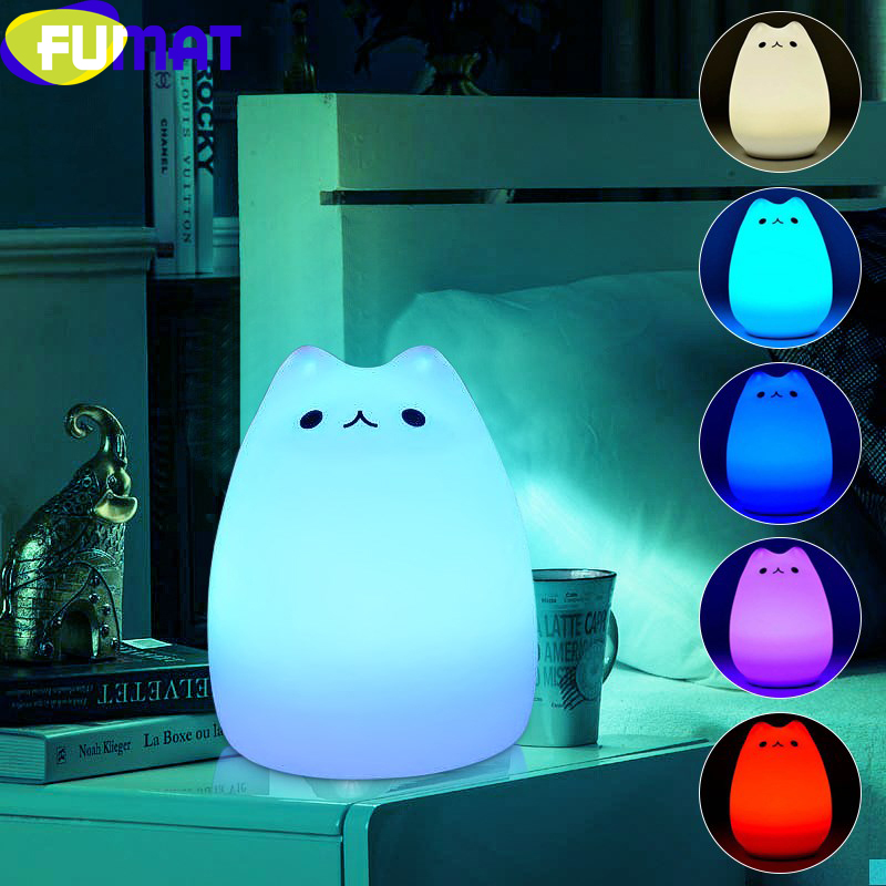 FUMAT Cute Cat Night Lights Touch Switch 7 Colors Change LED Lamp Silicone Soft Cartoon Lights for Children Bedroom Work Table