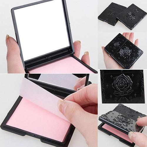 50Sheets Women's Face Oil Absorbing Paper With Mirror Case Makeup Beauty Tool Facial Tissue 2019