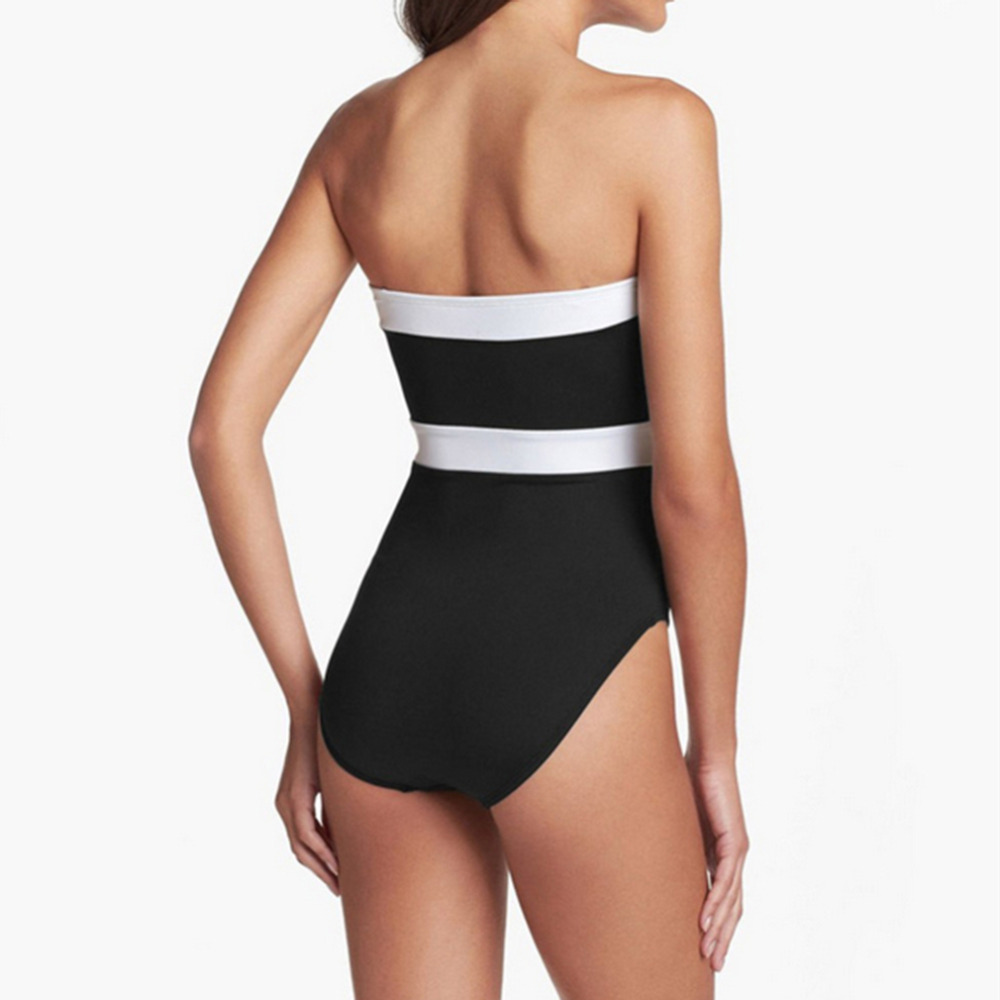d24b31583bea3 Black And White Leisure Novelty Swimsuit Vacation Women Conservative One  Piece Bikini Swimwear Bathing Suit free shipping-in One-Piece Suits from  Sports ...