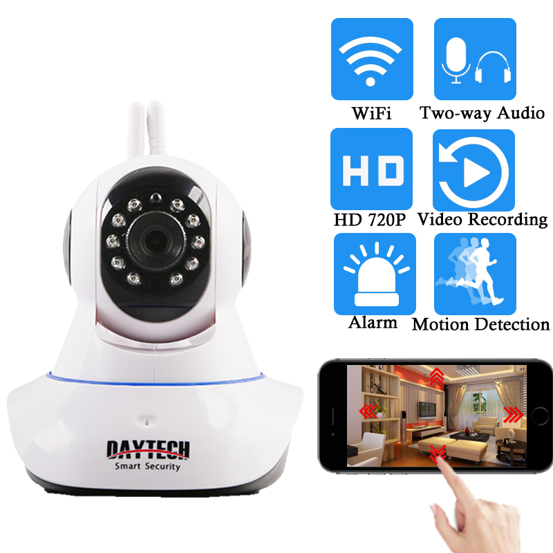 Daytech IP Camera Wireless Home Security Camera WiFi Network PT Two Way Audio IR Cut HD 720P CCTV Night Vision Motion Detection compatible lemos 2b series 6 pins metal electrical connector cable plug and receptacle fgg 2b 306 egg 2b 306