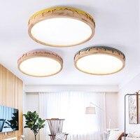 LED עגול תקרת אורות חדר שינה אוכל סלון נורדי סגנון תקרה רכוב מנורת עץ מטבח תאורה קבועה