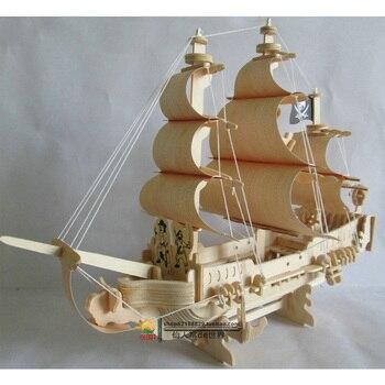 Cầm tay DIY-lắp ráp tàu chiến tàu hành trình bằng gỗ đường Caribe con tàu cướp biển thuyền cổ thuyền buồm xây dựng mô hình xếp hình đồ chơi Quà tặng