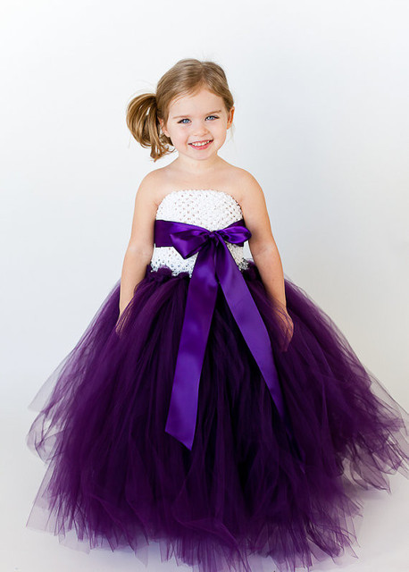 bridesmaid fluffy ball gown birthday purple tutu princess tulle baby flower  girl wedding dress evening prom cloth party dresses f519ed21bcc7