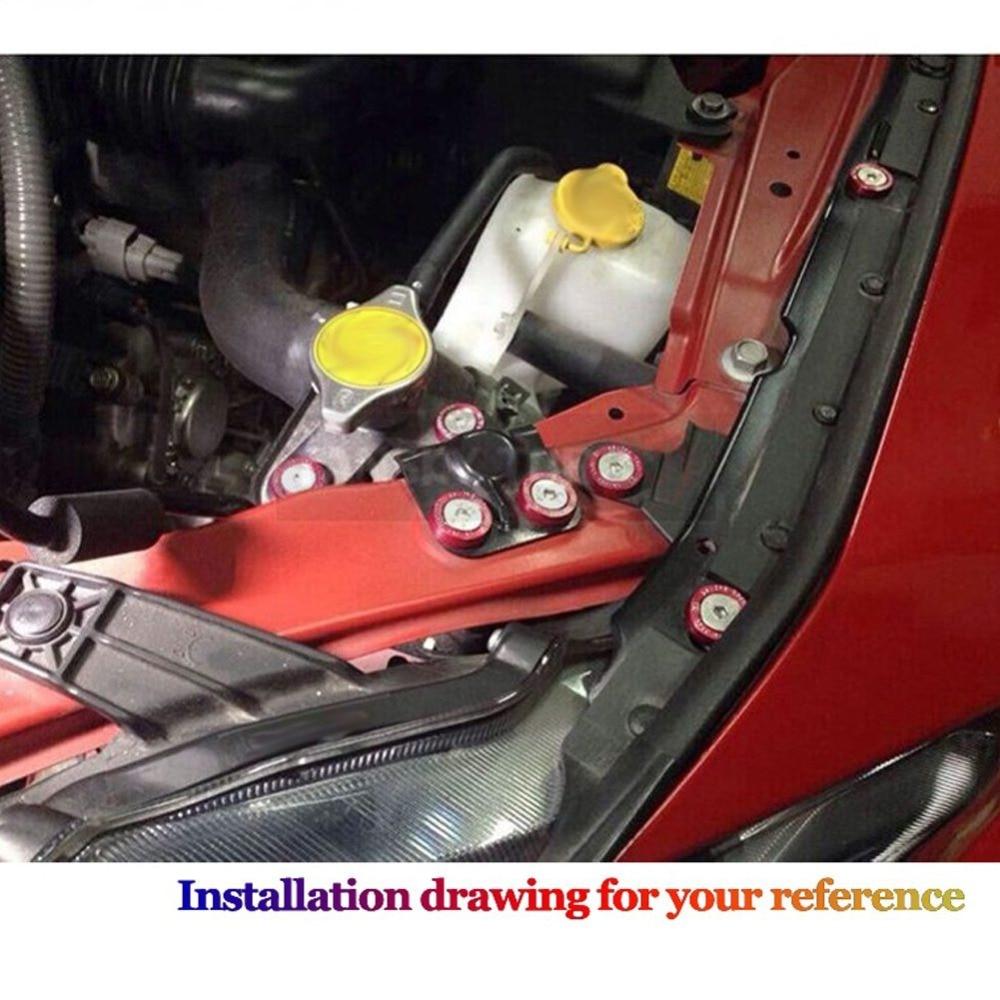 10pcs For JDM M6 Auto Car Engine Bumper Fender Washers Plate Screws Bolt X9L6