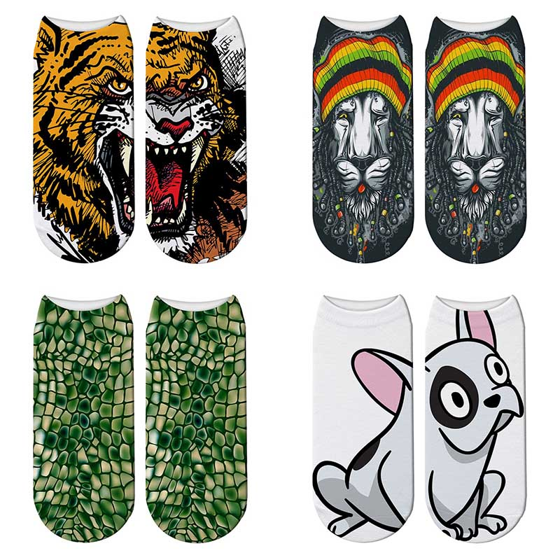 Underwear & Sleepwears Hot Sale Sexemara New Harajuku 3d Printed Animal Dog Funny Socks Women Kawaii Tiger Lion Sock Narwhal Cute Low Cut Ankle Short Socks