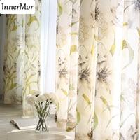 Innermor натуральный цветочные шторы для гостиной сгоревшие шторы для кухни спальня Вуаль Тюль Sheer готовые на заказ