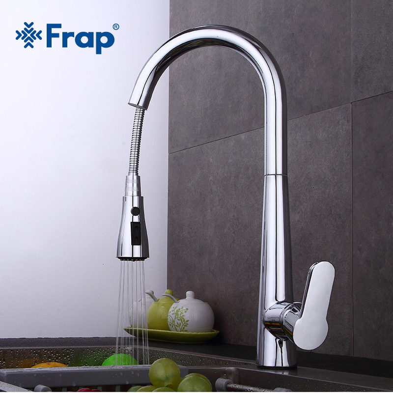 Frap New Kitchen Faucets Single Handle Pull Out Kitchen Tap Single Hole Handle Swivel Sink Mixer