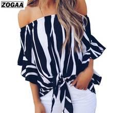 ZOGAA 2019 New Sexy Shoulders Mid-sleeve Ladys Shirts Slash Collar Striped Casual Chiffon Shirt Loose Girl Fashion Clothing