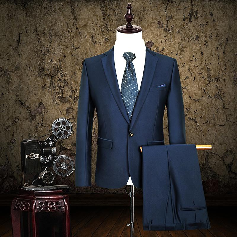 costume homme top quality men suit fashion solid slim fit men s suits  single breasted formal blazer set plus size jacket+pant-in Suits from Men s  Clothing   ... 3df14f135134