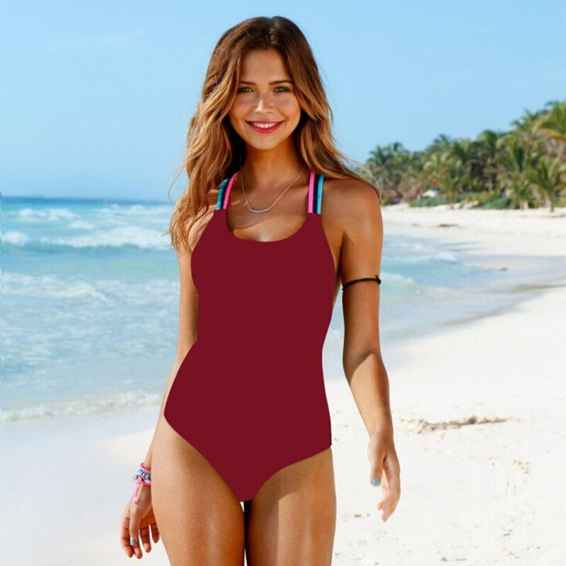 Bathing Suit Women One Piece Swimsuit Solid Push Up Swimwear Large Size Thong Bikini Black Blue Maio Monokini Swimming Suit 2019-4