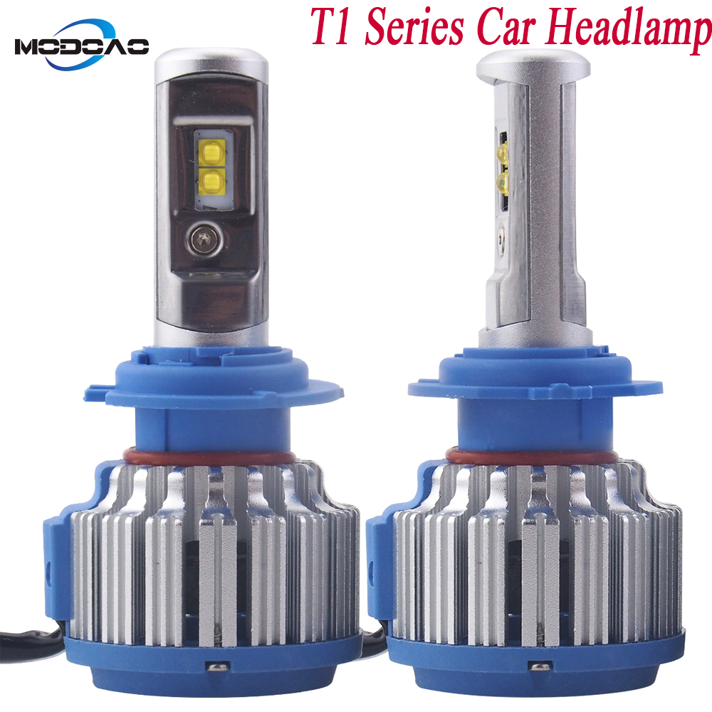 A pair T1 Series LED Headlights Vehicle Headlight Bulb Car Headlamp 6000k White Light H1 H3 H7 H8H9H11 9005 IP68 Waterproof