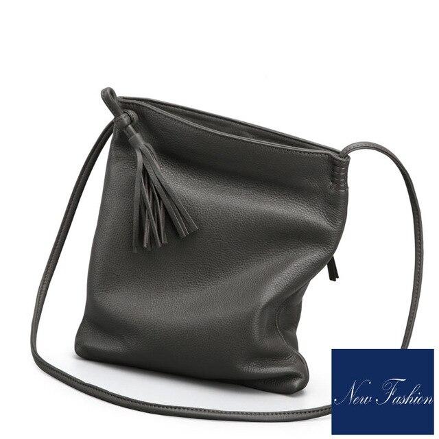 Fashion casual high quality Genuine Leather women bag new simple Calfskin crossbody bags for women tassels cross diagonal bag