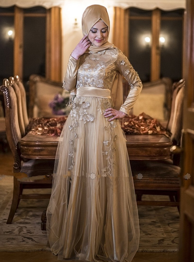 New Arrival Long Muslim Evening Dresses Kaftans Dresses
