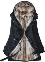 الشحن مجانا 2014 النساء فو الفراء مقنع السيدات سترة طويلة القطن معطف ملابس الشتاء الدافئة سميكة ستر الشتاء تكلفة s-3xl