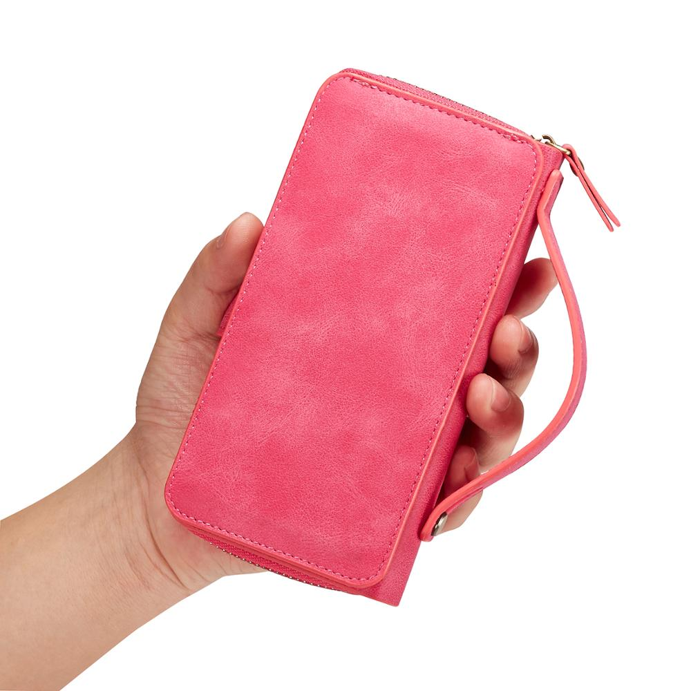 Portable zipper wallet with mirror and photo frame free combination mobile phone multi function leather case For sam in Wallet Cases from Cellphones Telecommunications