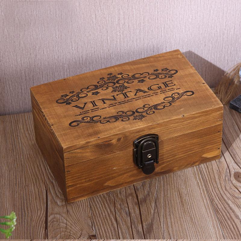 Large Vintage Wood Lock Box Retro Jewelry Boxes Antique Wooden Storage Box Jewel Management Jewelery Rangement Home Storage