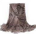 Gray Black Voile Leopard Women Scarf Print Fashion Brand Famous Shawls and Scarves Long Soft Wrap Size180*90cm No.12017