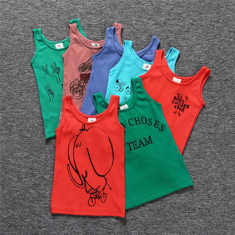Sleeveless Cartoon Animal T-Shirt Boys Girls Summer Children's Clothing Toddler Shark Cotton Tops Tee Kids Bebe Letters T-shirts(China)