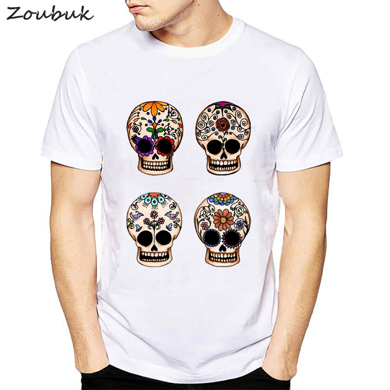 Voodoo Skull Funny Short Sleeve Casual Tops Hipster Flower Skulls Mans T-shirts Street Boy Tee Shirt Male Chemise Homme Clothes Men's Clothing Tops & Tees