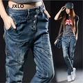 High quality The new thin large size feet collapse pants loose harem jeans breasted female fashion personality