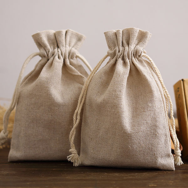 Natural Linen Gift Packaging Bag 8x11cm 9x12cm 10x15cm 13x17cm Pack Of 50 Party Candy Sack Jewelry Jute Drawstring Pouch