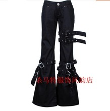 2016 Spring New men casual bell-bottomed pants personality rivet gas hole hiphop jeans plus size punk singer stage costumes