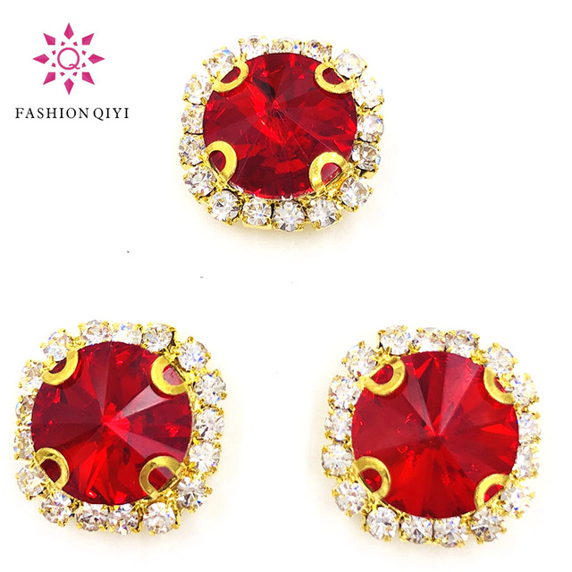 Factory outlet 10pcs red round shape gold base sew on rhinestones factory outlet 10pcs red round shape gold base sew on rhinestones crystal buckle wedding decoration diy junglespirit Images