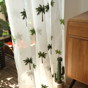 Custom curtain tulles pastoral white coconut tree embroidery window bedroom living room balcony Yarn sheer tulle yarn M368