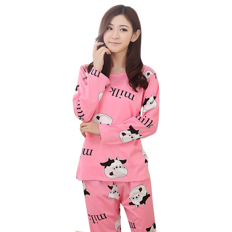 Autumn Winter Ladies Women Long Sleeve Sleepwear Cartoon Pajamas Set Leisurewear Homewear Solid