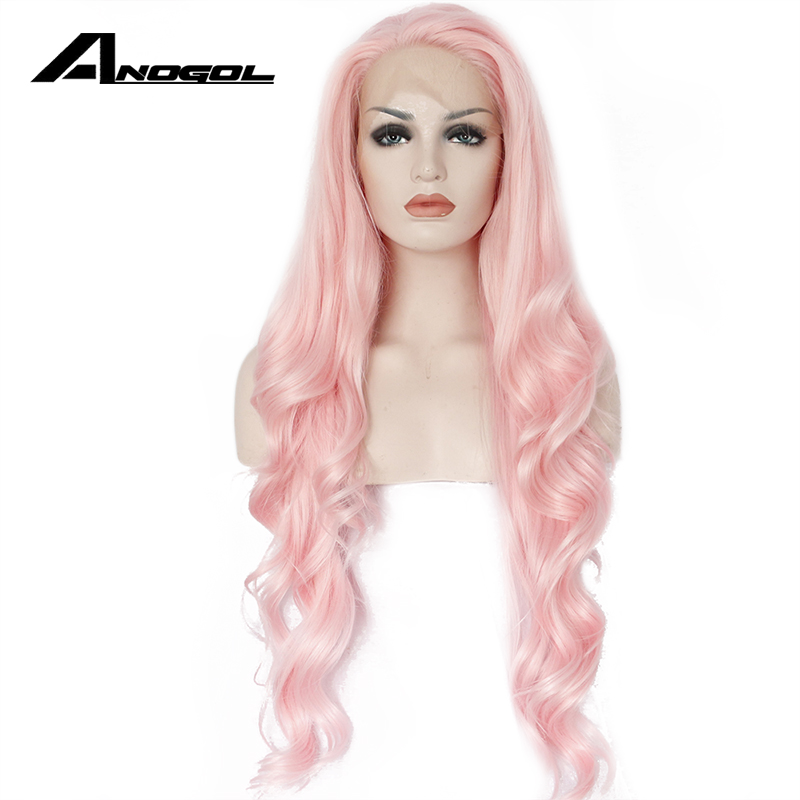 Anogol Long Wavy Pink Lace Front Wig Peruca Laco Sintetico Glueless Synthetic Heat Resistant Body Wave Women Natural Hair Wigs