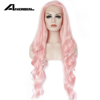 Anogol Long Wavy Pink Lace Front Wig Peruca Laco Sintetico Glueless Synthetic Heat Resistant Body Wave