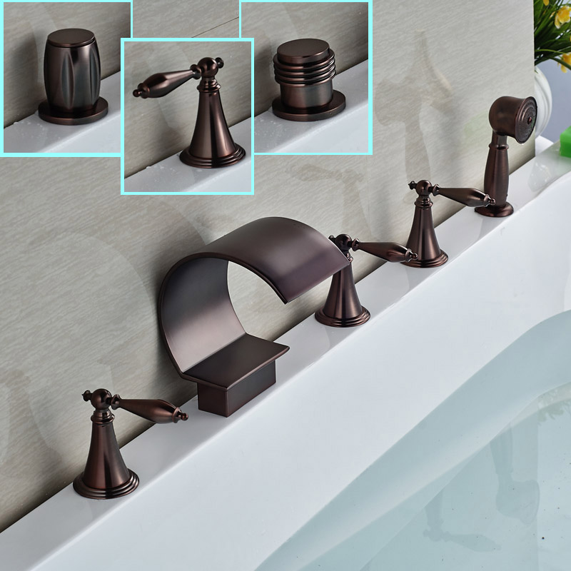 Oil Rubbed Bronze Bathroom Roman Tub Faucet Deck Mount Waterfall Bathtub Mixers 5 Holes with Hand Shower
