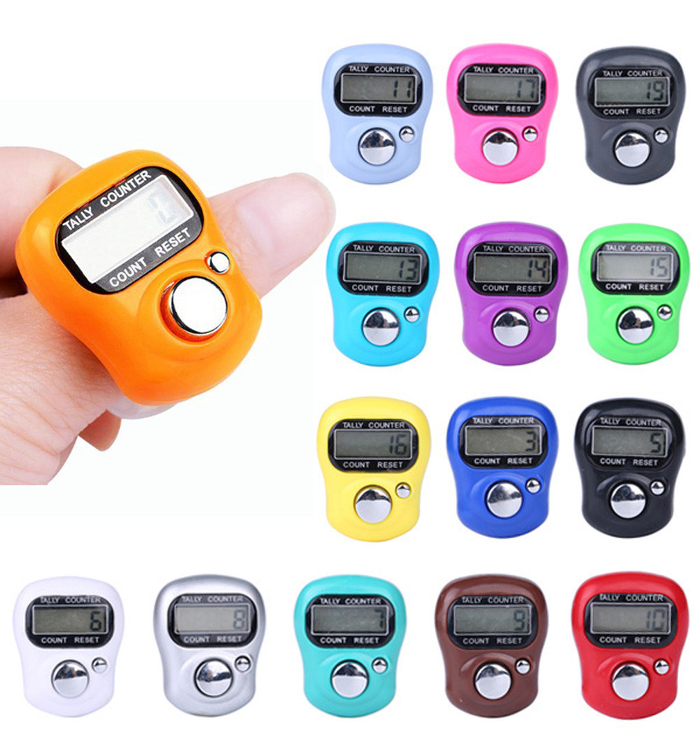 Digit Digital LCD Electronic Golf Finger Hand Ring Knitting Row Tally Counter TALLY Pedometer Random Color