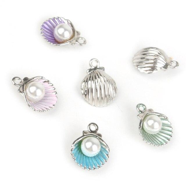 10pcs/lot Enamel Shell Alloy Charm Pendants For Women Earring Jewelry Making Fit Bracelet & Necklace DIY Jewelry Findings 3