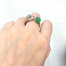 Golden Green chalcedony zircon panther Ring