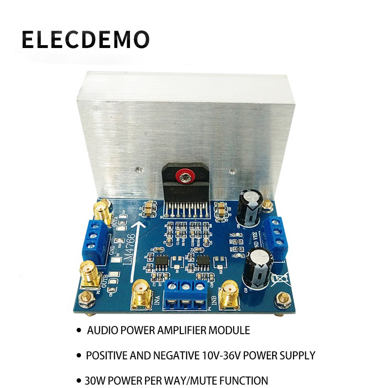 LM4766 module Audio Amplifier Dual 30W Power Amplifier High Voltage High Current Wide Voltage Range Function demo board in Amplifier from Consumer Electronics