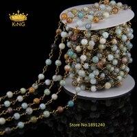 Handmade Bracelets Making 4mm or 6mm Smooth Round Amazonite Bead Bronze Copper Wire Chain HX053