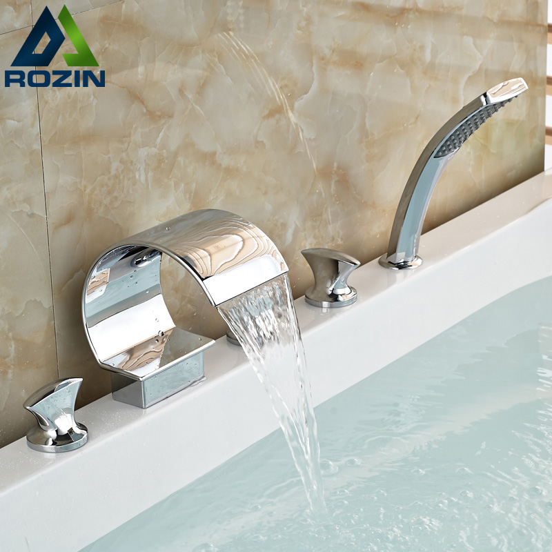Chrome Finish 5 Pcs Waterfall  Brass Bathtub Faucet Deck Mount 5 Holes Bathroom Tub Mixer Filler set