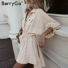 Berrygo vestidos de linho femininos, mini vestido de camisa manga comprida botões elegante vestidos femininos vintage de verão