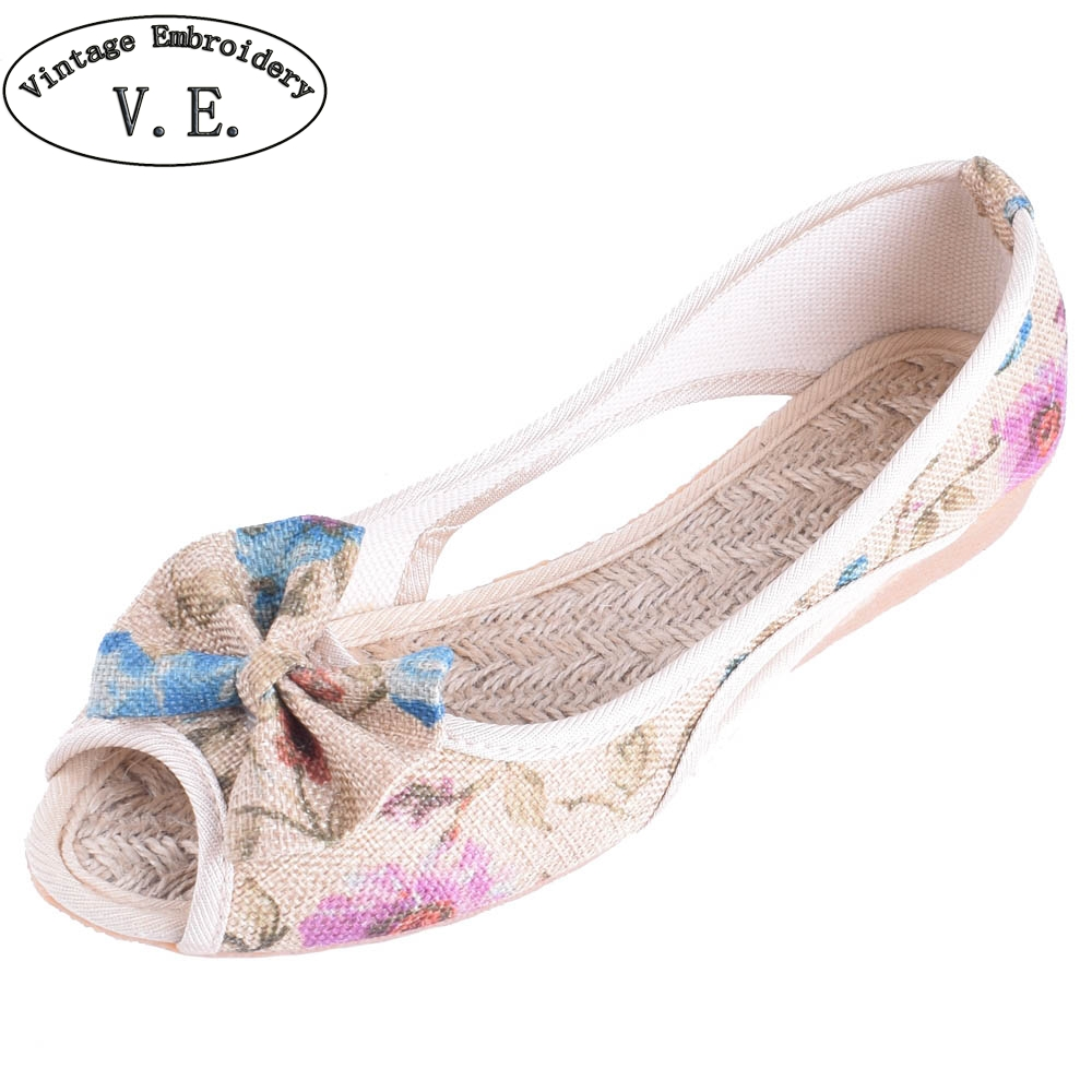 Vintage Women Flats Summer New Soft Canvas Shoes Casual Slip On Bow Dance Flat Sandals For Woman Zapatos Mujer chinese women flats shoes flowers casual embroidery soft sole cloth dance ballet flat shoes woman breathable zapatos mujer