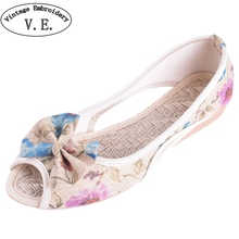 цены Vintage Embroidery Women Flats Summer New Soft Canvas Shoes Casual Slip On Bow Dance Flat Sandals For Woman Zapatos Mujer
