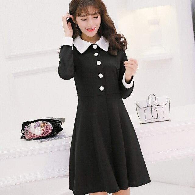 2017 Spring Women s Medium-long Black Dress White Collar Preppy Style  Dresses Long Sleeve Single Button Plus Size Dress XXL 0a7c0f6090b9