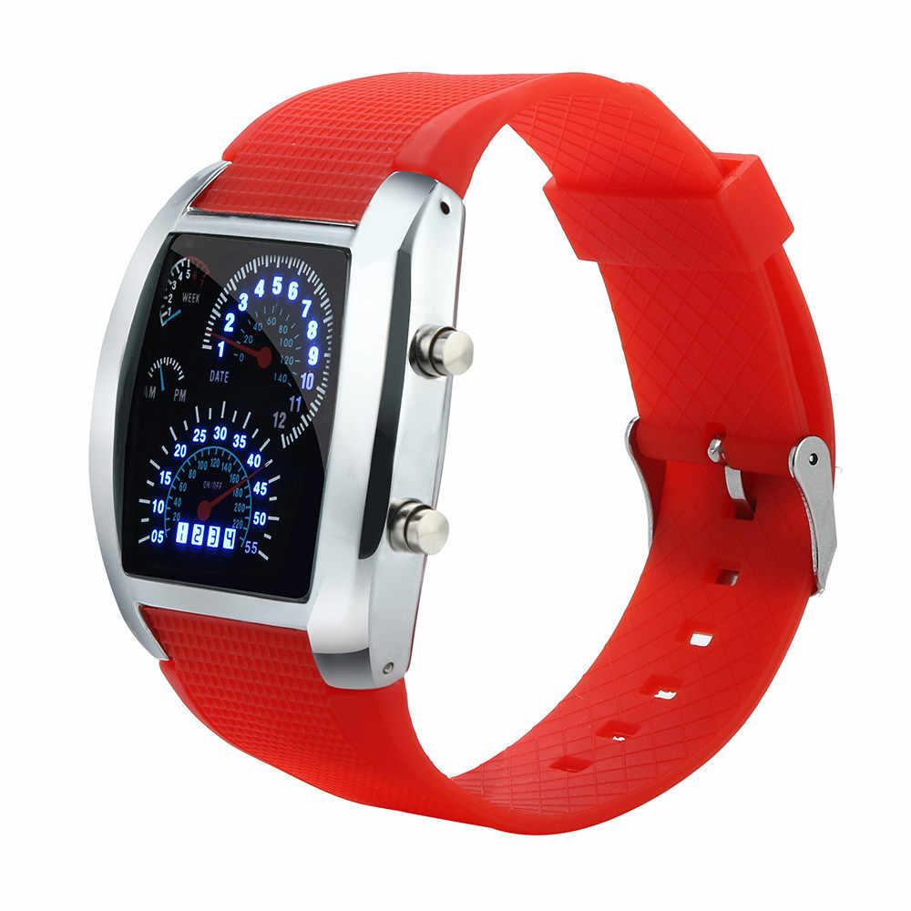 แฟชั่นผู้ชาย LED แสงแฟลช Turbo Speedometer กีฬารถ Dial Meter กีฬานาฬิกาอิเล็กทรอนิกส์นาฬิกาผู้ชายนาฬิกาข้อมือ