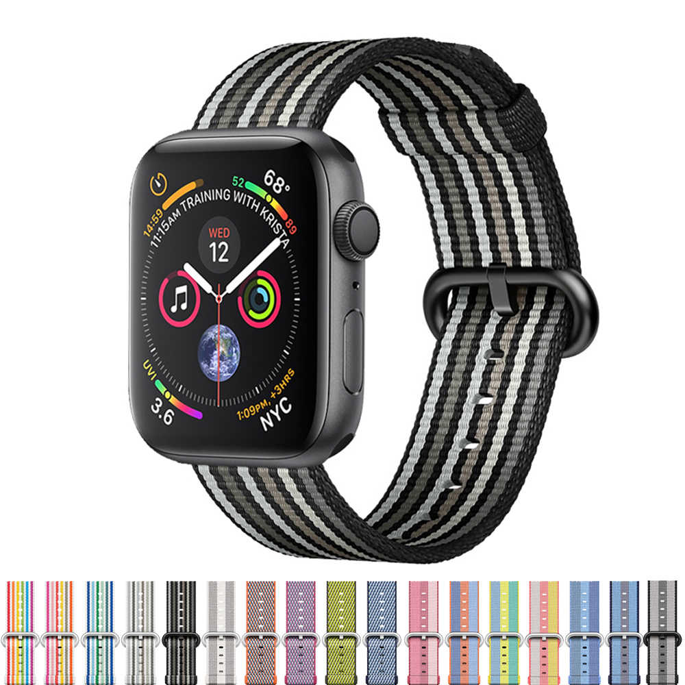 Woven Nylon Sport Strap For Apple Watch 4 3 band iwatch band 42mm 38mm 44mm 40mm Classic buckle Bracelet Wrist watchband