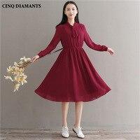 CINQ DIAMANTS Women Dress Preppy Style Spring Summer A Line Full Sleeve Vestidos Femininos Casual Loose